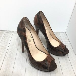 Boutique 9 open toe snake print heels pumps